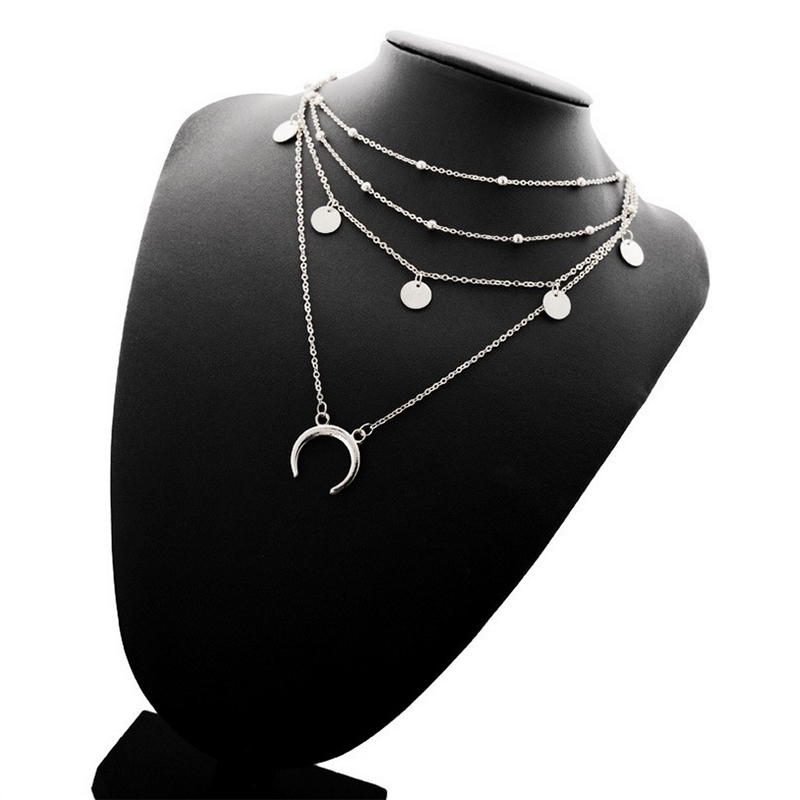 Boho Vintage Star Moon Necklace Set For Women Fashion Gold Necklace Multilayer Layers Pendant Long Necklaces Jewelry Gift