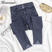 Jeans Pencil-Pants High-Waist Korean Women Hirsionsan Casual Skinny for Irregular-Button