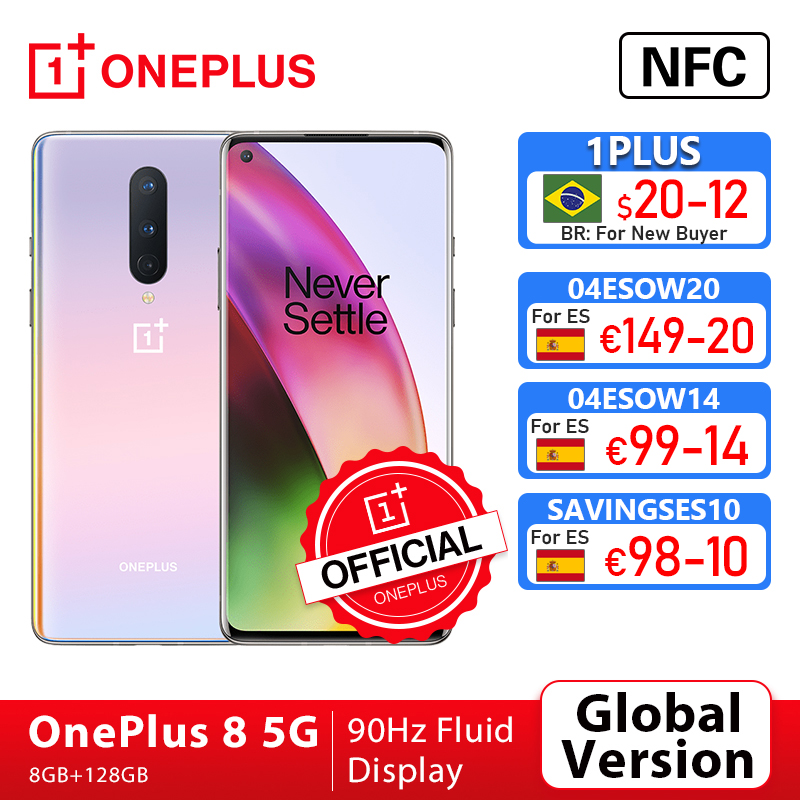 Global Version OnePlus 8 5G Smartphone 8GB 128GB Snapdragon 865 6.55\'\' 90Hz Fluid Display 48MP Triple OnePlus Official Store NFC