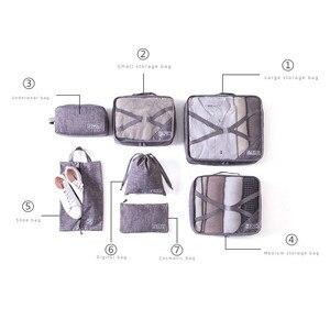 Image 2 - 7 pièces/ensemble loisirs voyage sac vêtements sous vêtements soutien gorge chaussures emballage Cube fixation rétractable et mécanisme dattache de sécurité week end nuit organisateur pochette accessoires