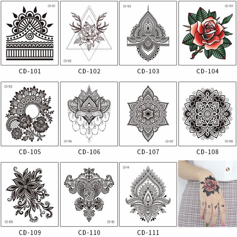 1Pc Indian Flower Pattern Tattoo Sticker Waterproof Temporary Sticker Geometric Planet Tattoo Black Tattoos Body Arm Fake Tatoos(China)