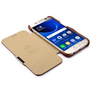 Image 5 - Funda de cuero genuino de lujo para Samsung Galaxy S7 Fundas de moda de pantalla completa cubierta de protección magnética Flip Cover Fundas de teléfono