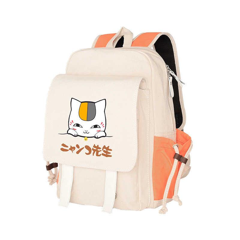 Kawaii аниме Кот-учитель Natsume Холст мультфильм рюкзак школьный рюкзак студент путешествия рюкзак сумки коллекционная
