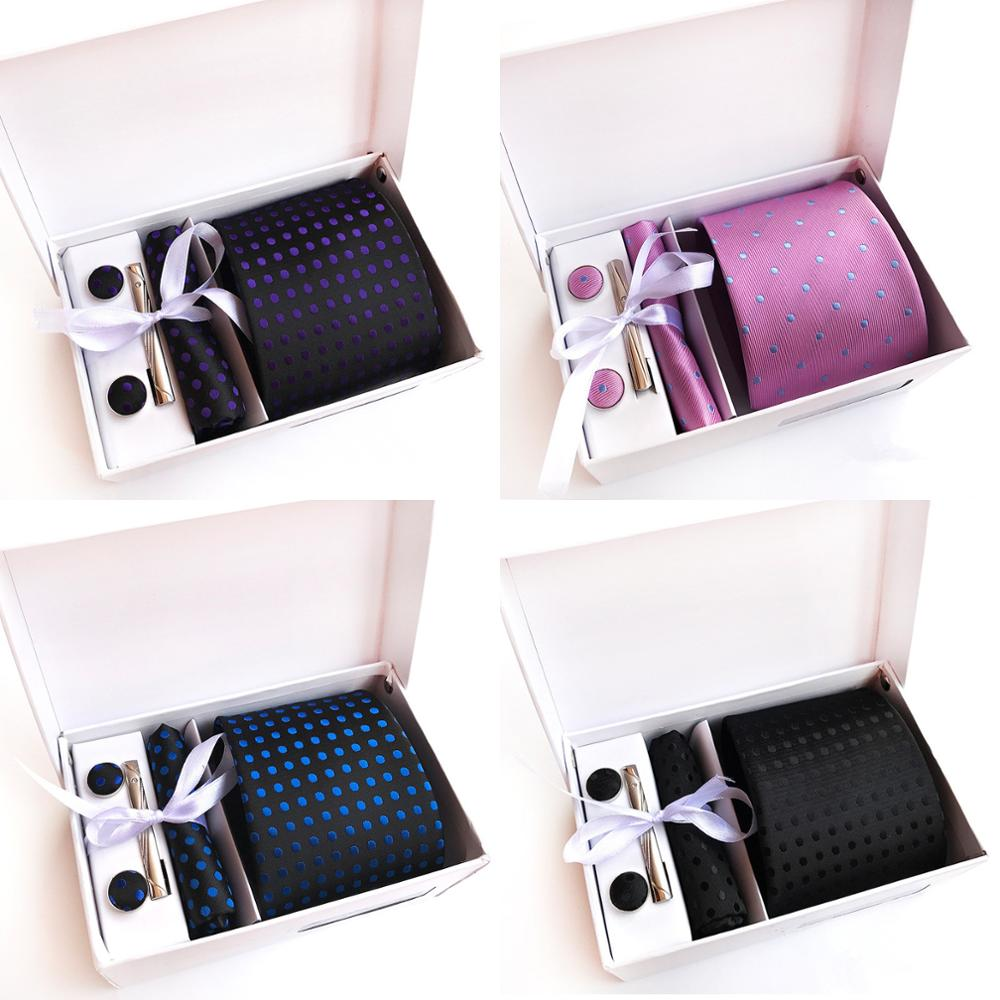 Dot Design Silk Tie Sets For Men Blue Pink Red Black Necktie And Pocket Square Tie-Clips Cufflinks 4pcs Sets Without Box A026