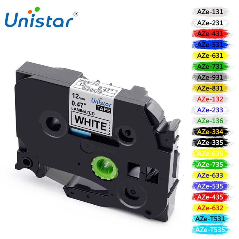 Unistar Tz Tape TZ231 12mm Compatible With Brother P-touch Label Printer Ribbons TZe-231 TZe211 TZe221 TZe241 TZe251 Label Maker