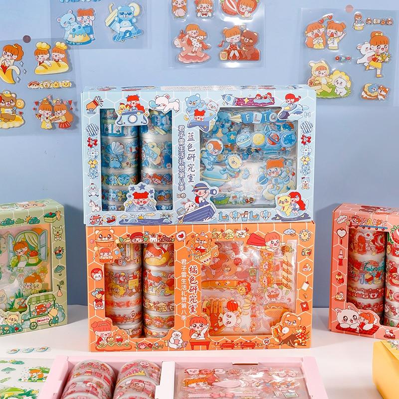 Ruban de masquage dessin animé fille, emballage boîte-cadeau, 10 pièces + 10 autocollants, vente en gros, papeterie