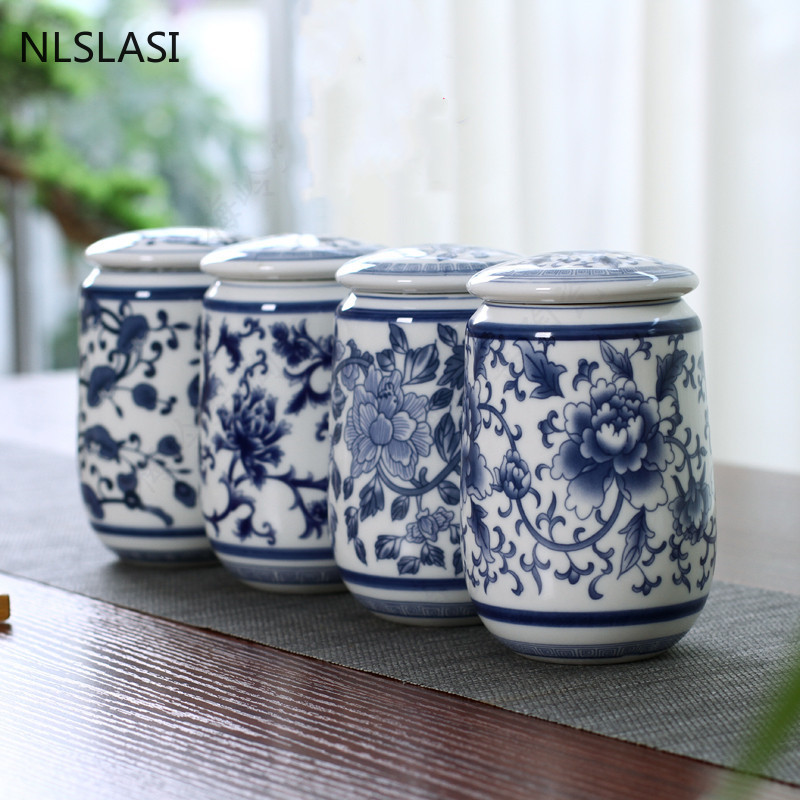Chinese Palace Blue and White Porcelain Tea Caddy Portable Ceramics Sealed Containers Travel Tea Bag Storage Box Coffee Canister