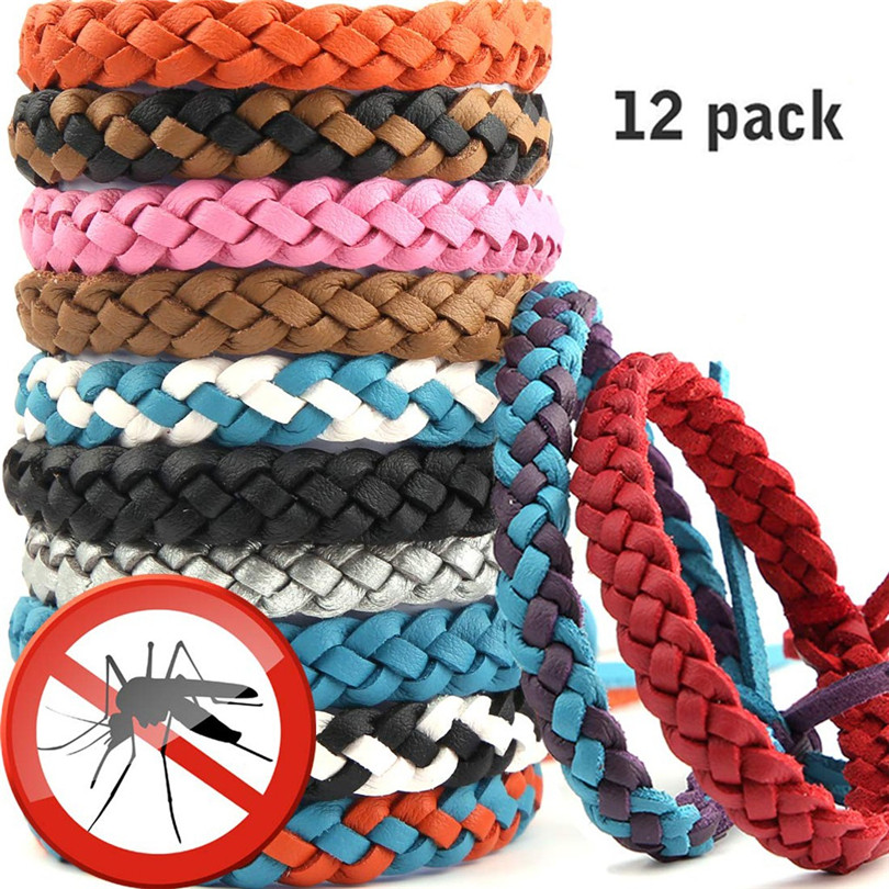12 Pack Mosquito Repellent Bracelet Reusable Leather Adjustable For Child & Adult Both Wrist And Ankle Outdoor Daily #4AU27