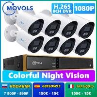 Movols-Sistema de CCTV de visión nocturna para exteriores, Kit de videovigilancia impermeable, 8 canales, DVR, 1080P AI, H.265, juego de cámara de seguridad