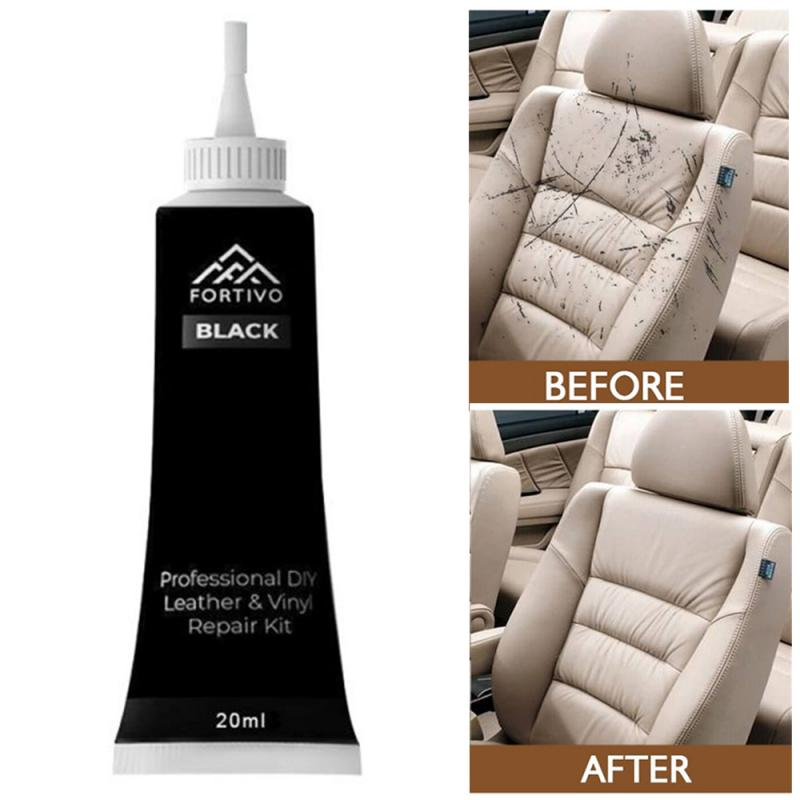 20ml Car Reconditioning Cream Black Leather Repair Cream Vinyl Repair Kit- Furniture Couch Car Seats Sofa Coat Hole Repair Cream