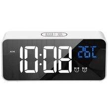 Новинка-цифровые часы-будильник, музыка, будильник, несколько наборов голос Управление, часы, регулируемый Яркость диммер, 12/24Hr, Snooze, кровать