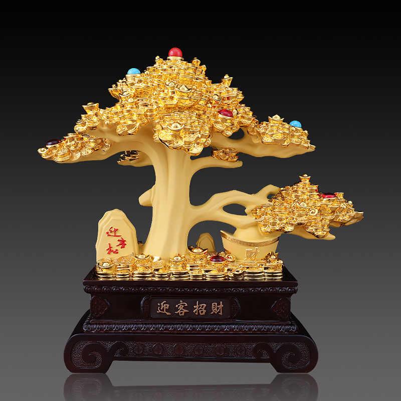 Presentes da abertura Vinho Sala de estar Armário Decoração Da Árvore de Ouro de Aluvião Sorte Acolhendo Pinho Mesa de Caixa Decoração Do Hotel