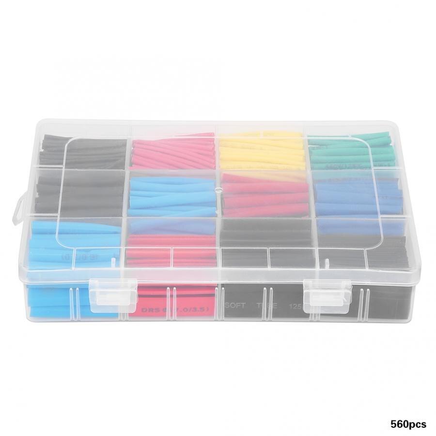560 pces misturado-colorido tubo shrinkable do cabo do envoltório da tubulação do psiquiatra do calor luva luvas do cabo do heatshrink