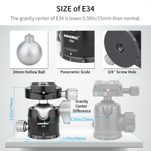 """Image 4 - E40/E34 Low Profile Tripod Ball Head with 1/4"""" Arca Swiss L Plate Bracket and Quick Release Plate for DSLR Monopod Camera"""