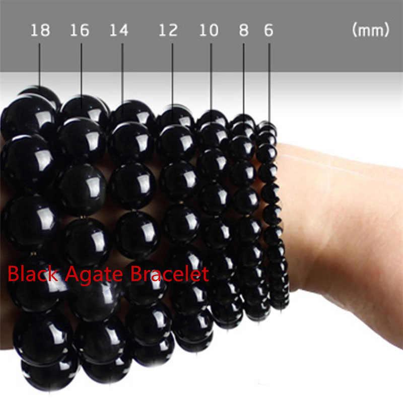 Gorąca sprzedaż naturalne czarny agat jedno lub pierścień bransoletka mody boutique biżuteria mężczyzn i kobiet, aby odpędzić zło i transferu buddy