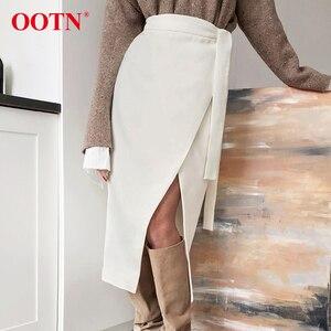 Image 3 - OOTN Vintage Braun Asymmetrie Wrap Rock Herbst Winter Wildleder Midi Röcke Hohe Taille Frauen Lange Rock Büro Khaki 2019 Mode