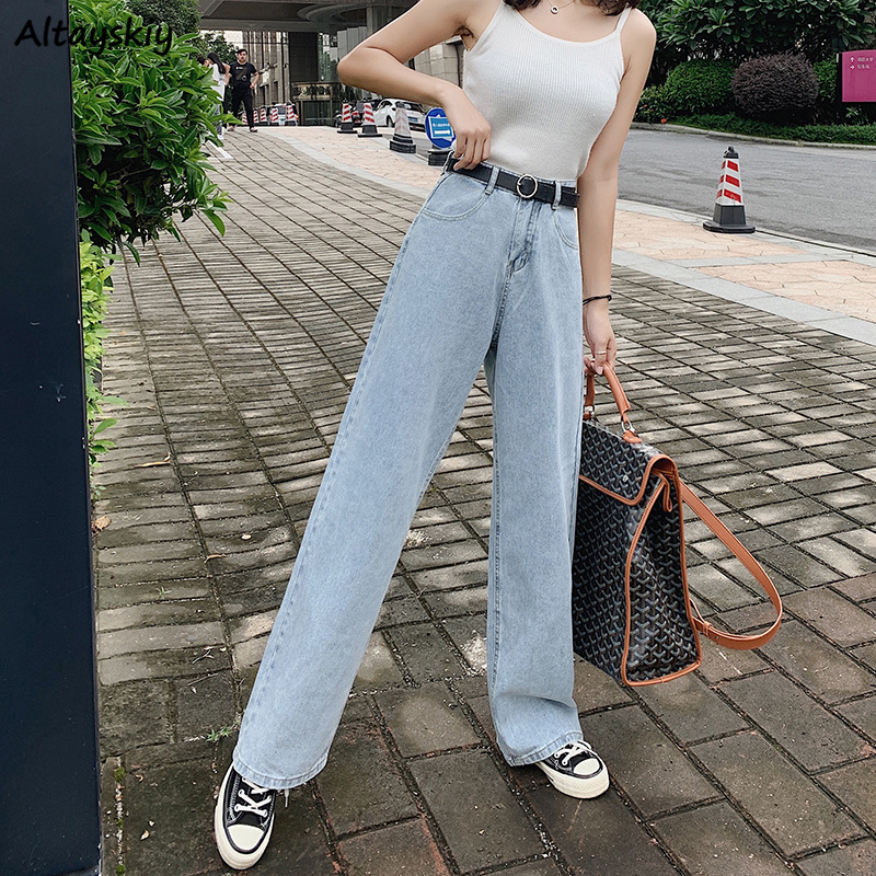 Jeans Women Full Length High Waist Pocket Solid Denim Elegant Wide Leg Trousers Womens All-match Harajuku Korean Style Casual