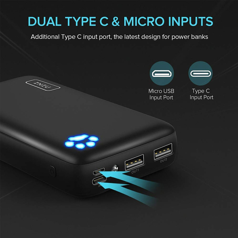 INIU 20000mAh Power Bank 3A Dual USB C Port Portable Charger Powerbank External Battery Pack For