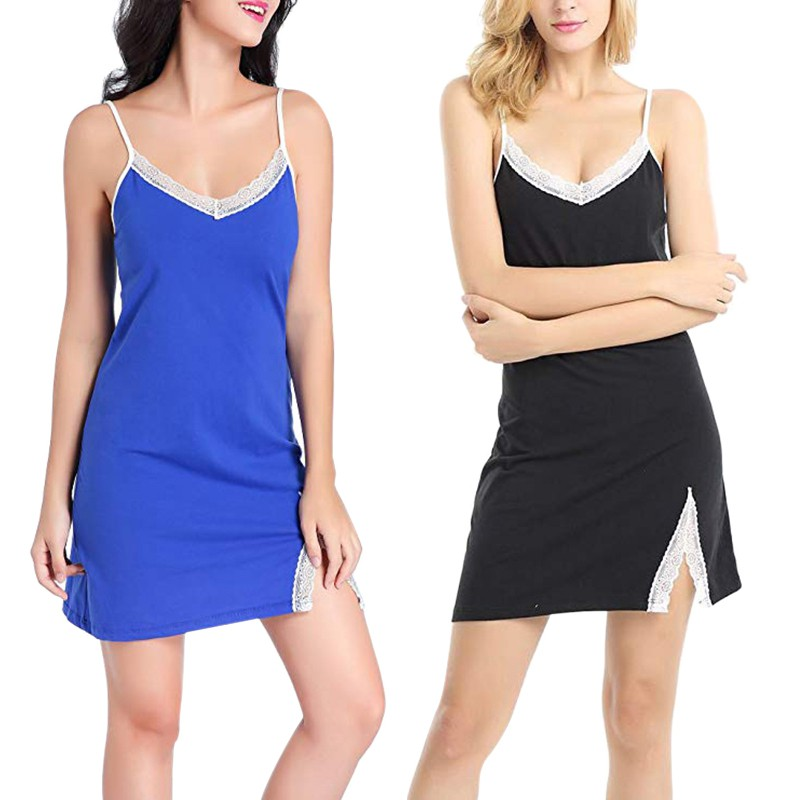 Women's Sleepwear Sexy Lace Cotton Nightgown Women Mini Short Dress Spaghetti Strap sleeveless blue black Night Slim Nightie
