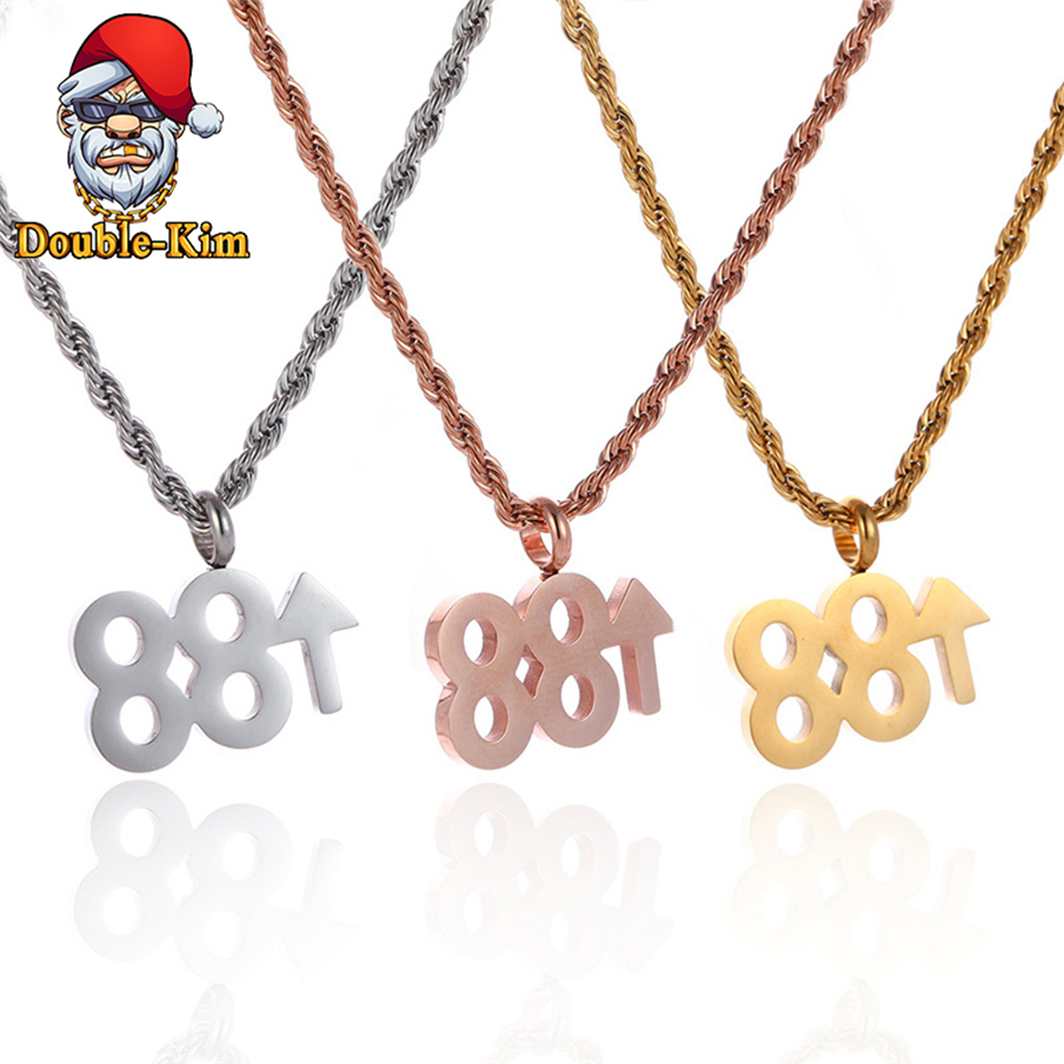 88 UP Men Necklace Hip-Hop Rock Street Culture Titanium Stainless Steel Gold Silver Chain Necklace Fashion Man Jewelry Gift