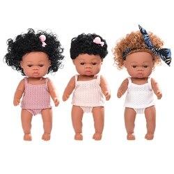 35cm realista boneca corpo macio vinil criança bebês realista cachos princesa africano menina brinquedo aniversário presente de natal