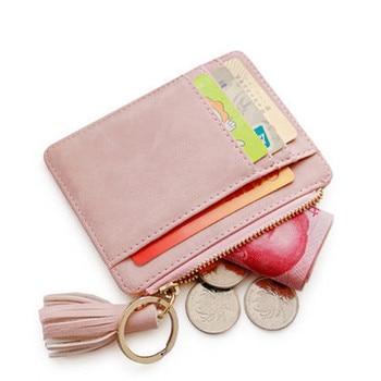 Matt Leather Mini Tassel Women Card Holder Cute Credit ID Holders Zipper Wallet Case Change Coin Purse Keychain Nubuck New - discount item  20% OFF Wallets & Holders
