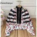 Ziwwshaoyu Sexy negro de encaje de retazos de flores de impresión blusa camisa de las mujeres de moda fiesta linterna manga blusa Tops