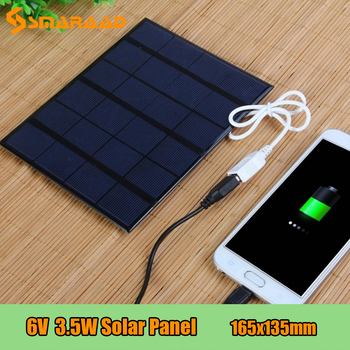 6V 3.5W Solar Panel Battery Charger DIY Solar Module Charging Board With USB Port Portable Outdoor Power Bank For Mobile Phones wama portable 3w folding foldable waterproof solar panel charger mobile power bank