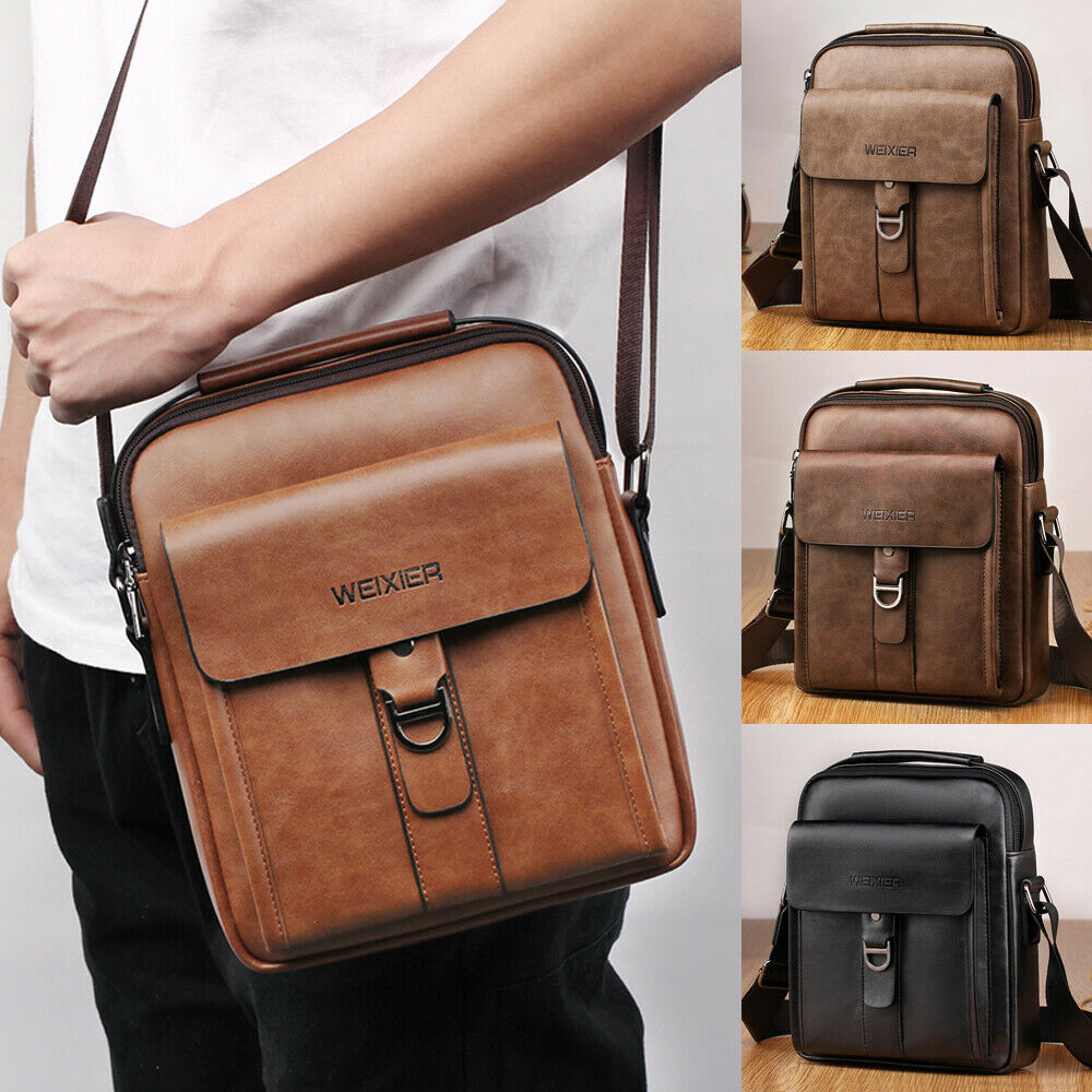 Hirigin New Men's Leather Briefcases Shoulder Messenger Bags Work Briefcase Cross Body Tote Handbag