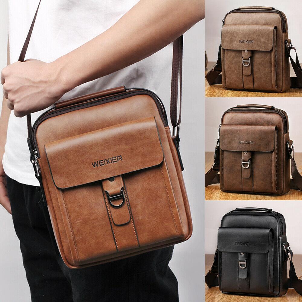 Hirigin New Men's Leather Briefcases Shoulder Messenger Bags Work Briefcase Cross Body Tote Handbag