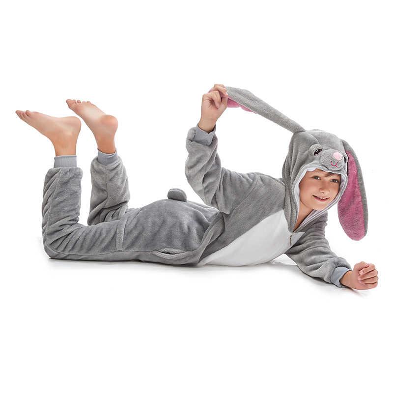 Novo animal lobo kigurumi pijamas para crianças menino meninas unicórnio pijamas inverno colar velo macacão anime onesie crianças pijamas