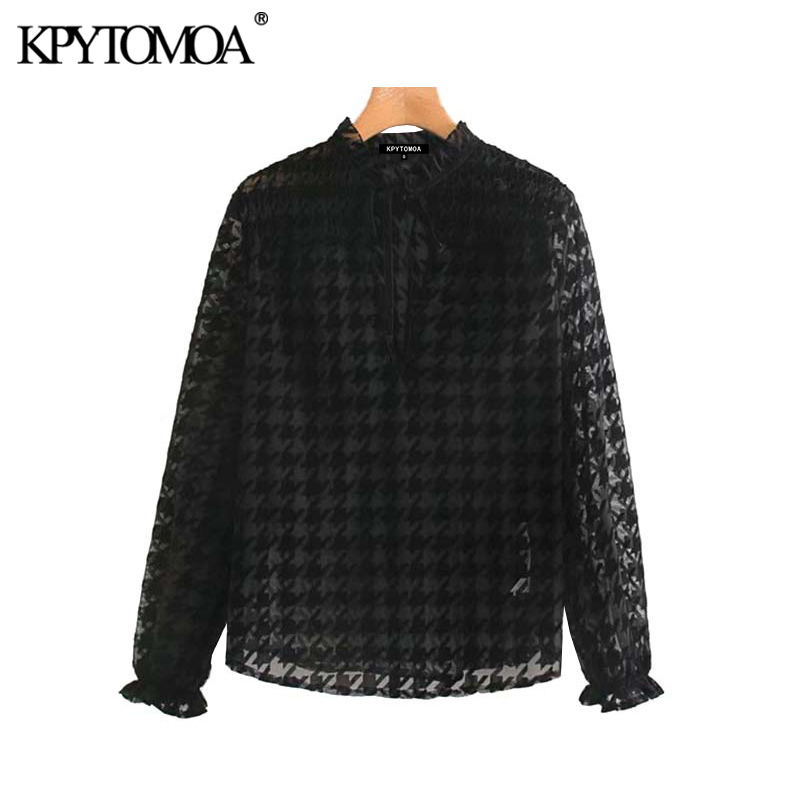 Vintage Sexy Flocked Houndstooth Blouses Women 2020 Fashion Ruffled Collar Long Sleeve Transparent Female Shirts Chic Tops Blusa