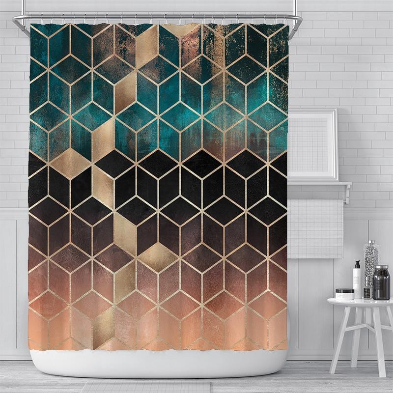 Cortina de ducha de baño con impresión de mármol 3D, 200x180cm, poliéster, impermeable, decoración del hogar, cortina de baño con gancho