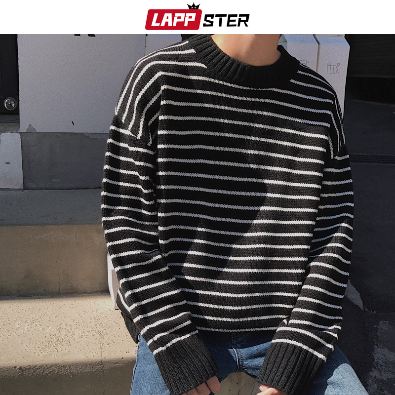 LAPPSTER Men Korean Fashions Fall Striped Sweater 2019 Mens Colorful Pullover Streetwear Sweaters Couple Black Oversized Clothes