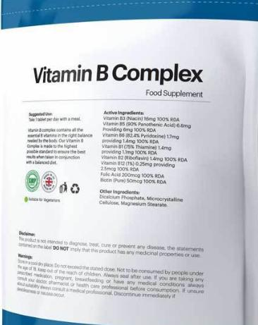 120pcs Vitamin B Complex High Strength Energy Healthy Hair Eye Skin Tablet , Liver Support