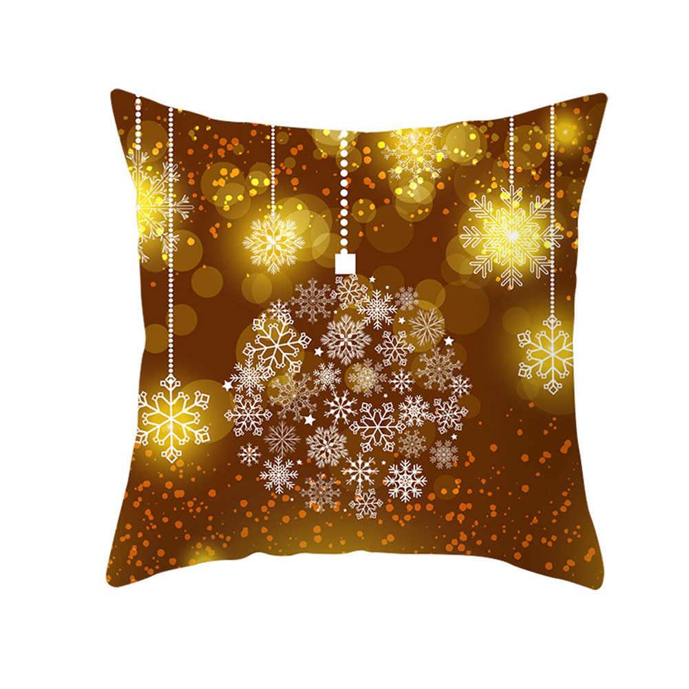 45x45 سنتيمتر عيد ميلاد سعيد كيس وسادة سنة جديدة سعيدة Snowfleke القوس جرس الزخرفية المخدة وسادة غطاء عيد الميلاد الديكور