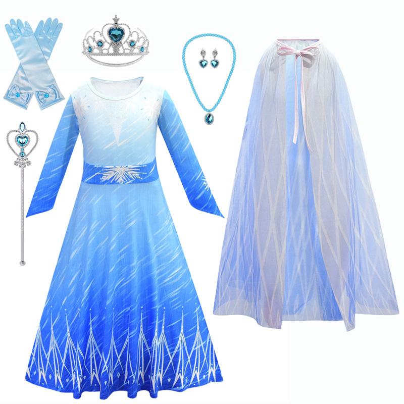 New Anna Elsa Dress For Girls Princess Dress Carnival Kids Dresses Costume Cinderella Snow White Cosplay Party Children Clothing