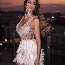 Alta qualidade rosa branco penas rayon bandage vestido elegante noite clube vestido de festa vestidos