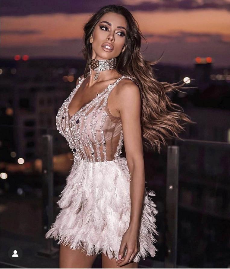 High Quality Pink White Feathers Rayon Bandage Dress Elegant Night Club Party Dress Vestidos