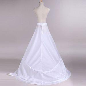 Image 3 - Gelin düğün elbisesi arka etek kombinezon Yarnless 2 çemberler elastik bel İpli ayarlanabilir Fishtail Slip etekler