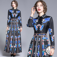 Make spot - the European and American fashion waist cultivate ones morality joker positioning printed dresses