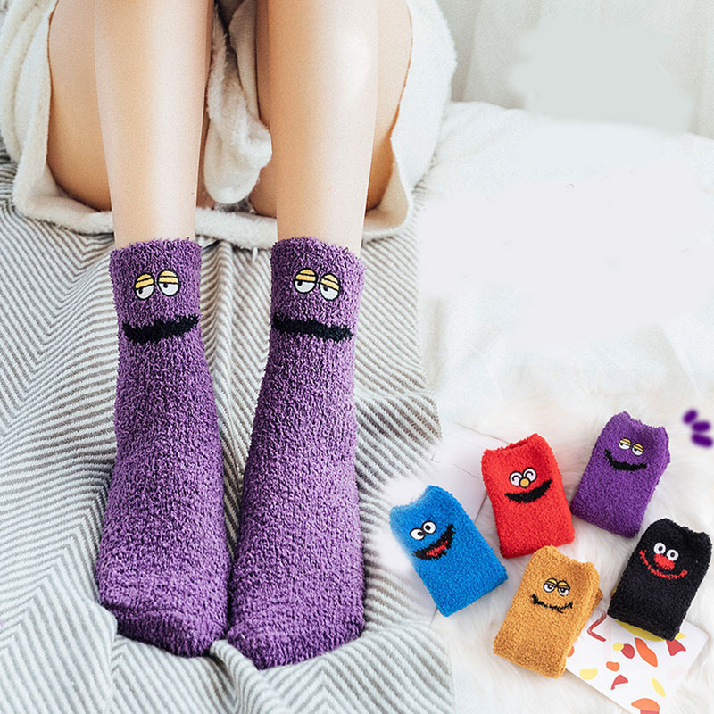 Funny Women Socks Coral Fleece Floor Socks Thick Half Velvet Towel Socks Sleep Mid-Tube Socks Christmas Gifts for Girls 1 Pair