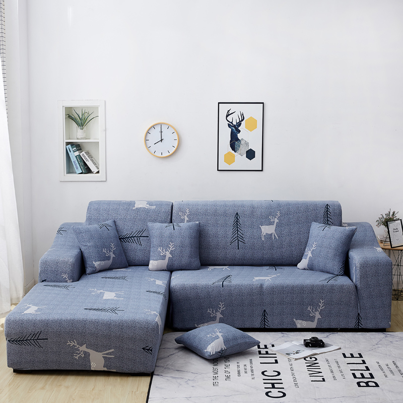 HOT DEAL) L Shaped Sofa Cover Chaise Longue Covers Solid ...