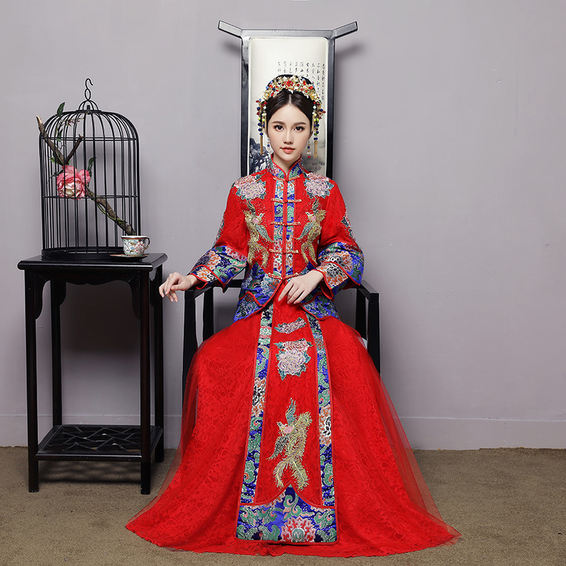 Bridal Toast, Xiuhe Suit, 2020 New Chinese Dress, Wedding Dress, Red Long Bridal Wedding Dress, Wedding Dress, Cheongsam