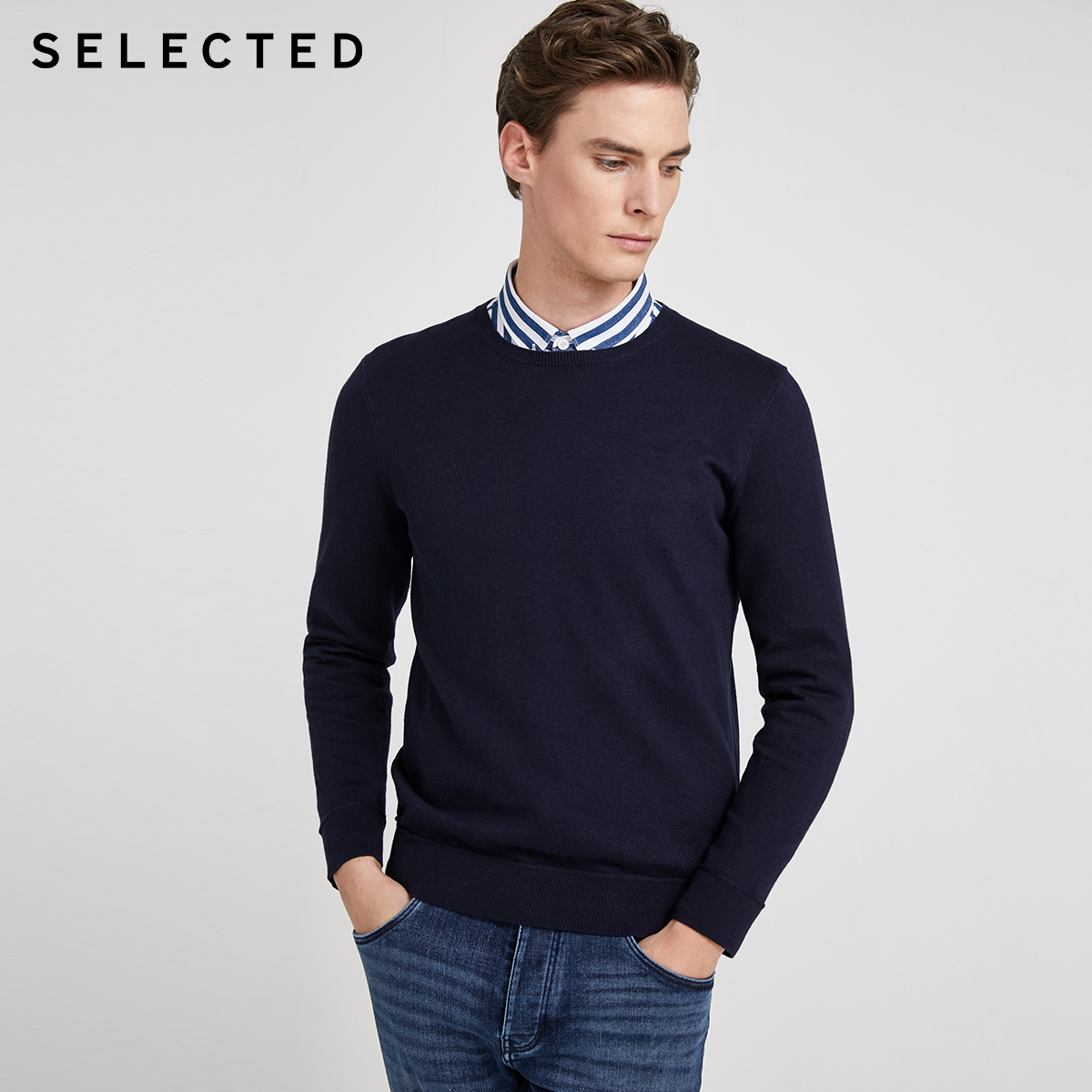 SELECTED Men's Cotton Round Neckline Long-sleeved Knit R|420124525