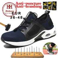 Hohner Zoom Work Safety Shoes Steel Toe Indestructible BootsBreathable Anti-smashing Puncture Outdoor Protective Shoes Plus Size