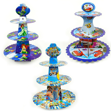 1set/lot 3 Tier Mermaid Cupcake Holder Beauty Beast /Mario/Super wings/Princess/Dinosaur/First Tooth Cake Stand Birthday Party hot assemble and disassemble cake holder round acrylic 3 4 tier cupcake cake stand decorating birthday tools party stands