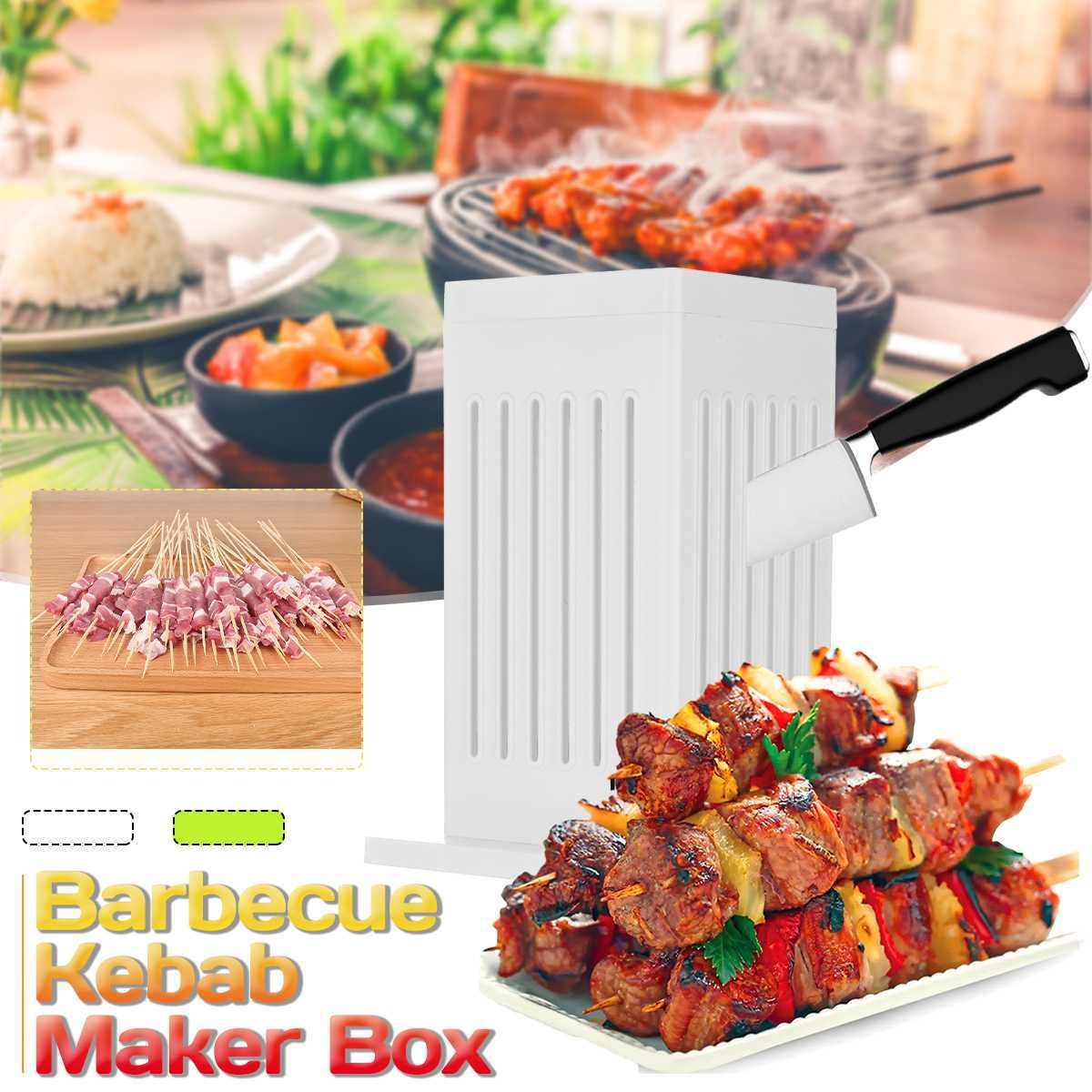 Carne brochettes espeto máquina de churrasco grill 49 buracos churrasco kebab fabricante de carne caixa carne grill brochettes espeto máquina ferramenta fabricante