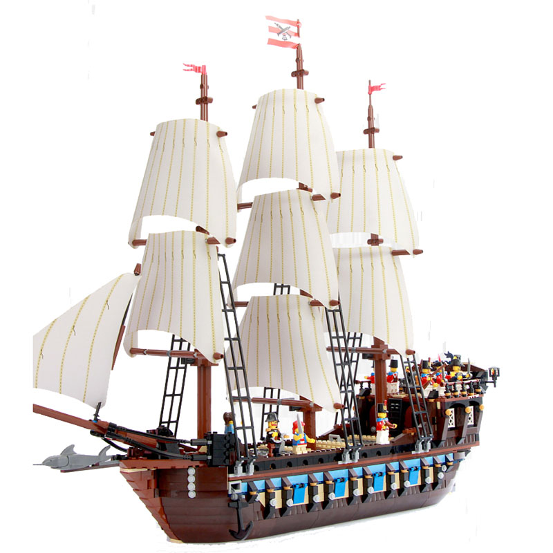Enlighten Building Block Large Pirate Ship Boat Imperial Flagship 9 Figures 8 Cannons Le Vaisseau Amiral 1734pcs No Retail Box