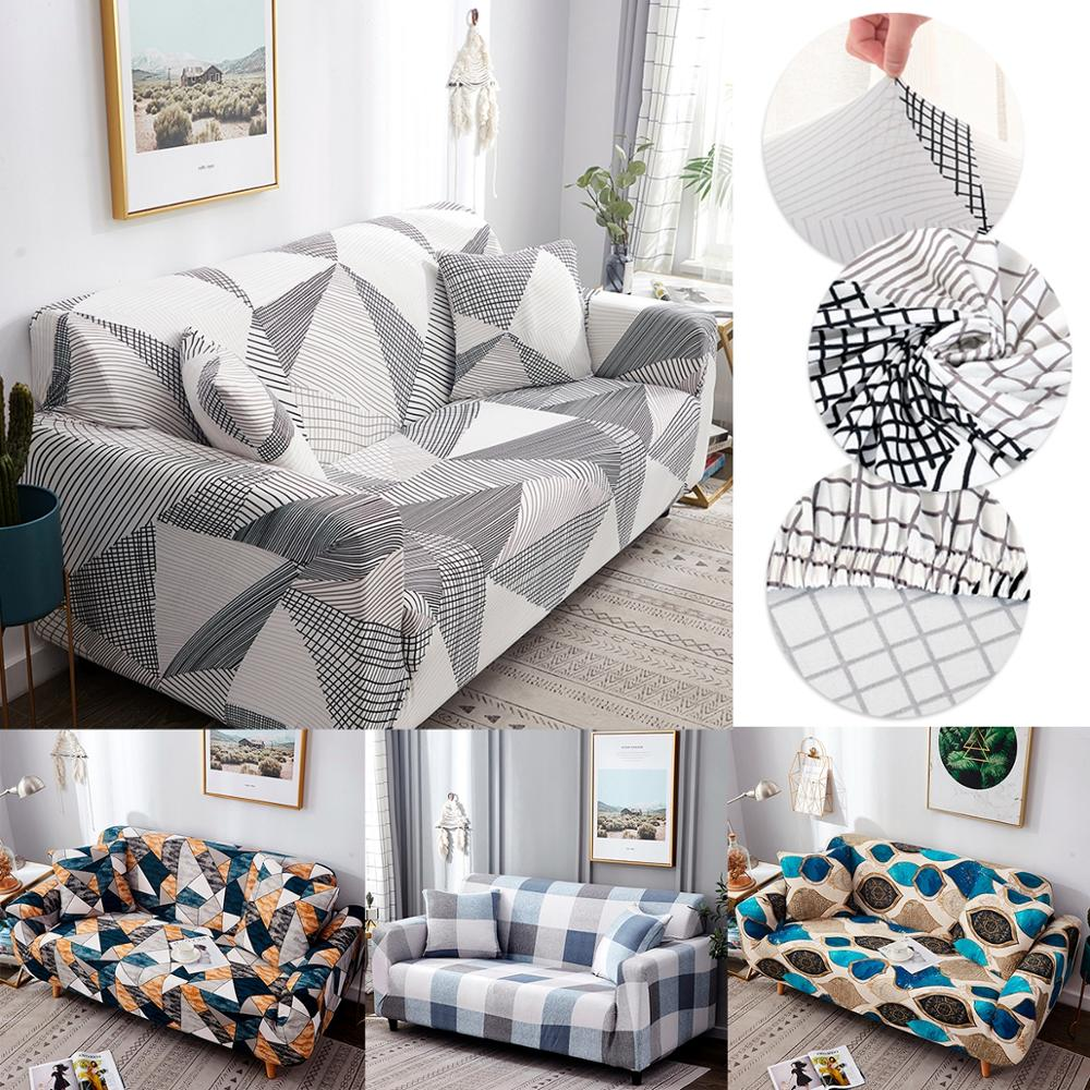 Elastic Geometric Sofa Cover For Living Room Modern Sectional Corner Sofa Slipcover Couch Cover Chair Protector 1/2/3/4 Seater